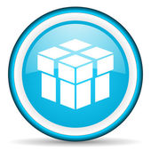 Box blue glossy icon on white background — 图库照片