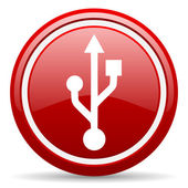 Usb red glossy icon on white background — Stock Photo