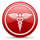 Caduceus red glossy icon on white background — Stock Photo