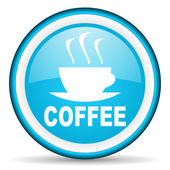 Coffee blue glossy icon on white background — Stock Photo