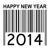 2014 new years illustration with barcode — Stock Photo