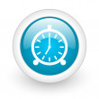 Alarm clock blue circle glossy web icon on white background — 图库照片