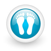 Footprint blue circle glossy web icon on white background — Stock Photo