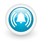 Alarm blue circle glossy web icon on white background — Stock Photo