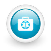 Rescue kit blue circle glossy web icon on white background — Stok fotoğraf