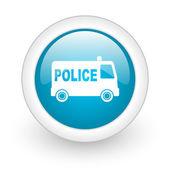 Police blue circle glossy web icon on white background — Stock Photo