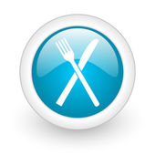 Food blue circle glossy web icon on white background — Stok fotoğraf