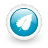 Leaf blue circle glossy web icon on white background — Stock Photo