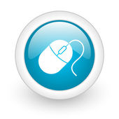 Mouse blue circle glossy web icon on white background — Stock Photo