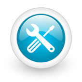 Tools blue circle glossy web icon on white background — Stock Photo