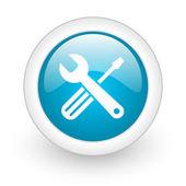 Araçlar mavi daire parlak web simgesi beyaz zemin üzerine — Stok fotoğraf