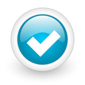 Accept blue circle glossy web icon on white background — Stock Photo