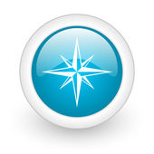 Compass blue circle glossy web icon on white background — Stock Photo