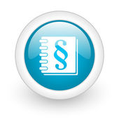 Law blue circle glossy web icon on white background — Stock Photo