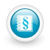 Zákon modrý kruh lesklý web ikony na bílém pozadí — Stock fotografie