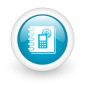 Phonebook blue circle glossy web icon on white background — Stock Photo