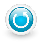 Rotate blue circle glossy web icon on white background — Stock Photo