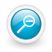Magnification blue circle glossy web icon on white background — Stock Photo