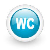 Wc koło niebieski www błyszczący ikona na białym tle — Zdjęcie stockowe