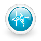 Windmill blue circle glossy web icon on white background — Stock Photo