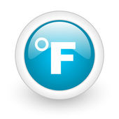Fahrenheit blue circle glossy web icon on white background — Stock Photo