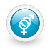 Sex blue circle glossy web icon on white background — Stock Photo