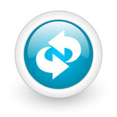Rotate blue circle glossy web icon on white background — Stock Photo