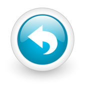 Back blue circle glossy web icon on white background — Stok fotoğraf