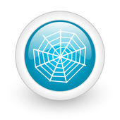 Spider web blue circle glossy web icon on white background — Stockfoto