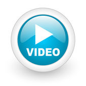Video blue circle glossy web icon on white background — Stock Photo
