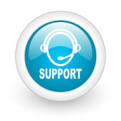 Support blue circle glossy web icon on white background — Stock Photo