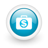 Financial blue circle glossy web icon on white background — Stock Photo