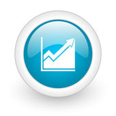 Histogram blue circle glossy web icon on white background — Stock Photo