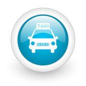 Icône de papier glacé web taxi cercle bleu sur fond blanc — Photo