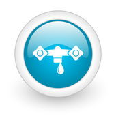 Water blue circle glossy web icon on white background — Stock Photo