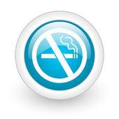 在白色背景上没有吸烟蓝色圆光泽 web 图标 — 图库照片
