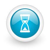 Lesklý web ikonu modrý kruh na bílém pozadí — Stock fotografie