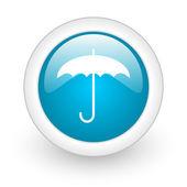 Umbrella blue circle glossy web icon on white background — Stock Photo