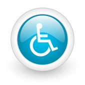 Accessibility blue circle glossy web icon on white background — Stock Photo
