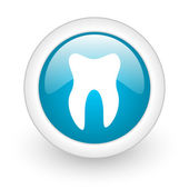 Tooth blue circle glossy web icon on white background — Stock Photo