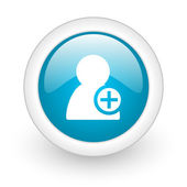 Add contact blue circle glossy web icon on white background — Stok fotoğraf