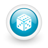 Dice blue circle glossy web icon on white background — Foto Stock