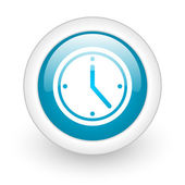 Clock blue circle glossy web icon on white background — ストック写真