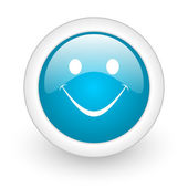 Smile blue circle glossy web icon on white background — Stock Photo