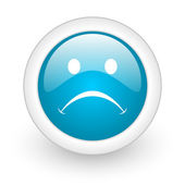 Cry blue circle glossy web icon on white background — Stock Photo