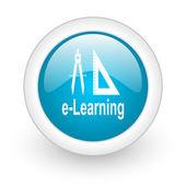 E-learning blue circle glossy web icon on white background — Stock Photo