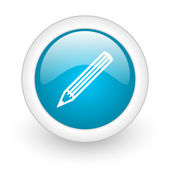 Pencil blue circle glossy web icon on white background — Stock Photo
