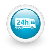 Teslimat 24h mavi daire parlak web simgesi beyaz zemin üzerine — Stok fotoğraf