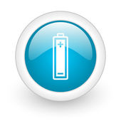 Battery blue circle glossy web icon on white background — Stock Photo