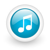 Music blue circle glossy web icon on white background — Stock Photo